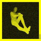 De mens van de zitting 3D Menselijk Lichaamsmodel Zwart en geel korrelig ontwerp Vector illustratie vector illustratie