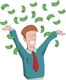 De mens verheugt zich bij het krijgen van geld Stock Afbeelding