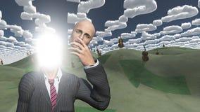 De mens verwijdert gezicht dat lightn binnen toont Stock Afbeeldingen