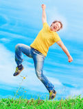 De mens viert een succes Stock Foto's