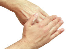 De mens wast zijn handen Royalty-vrije Stock Fotografie