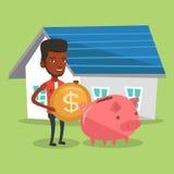 De mens zet geld in spaarvarken voor het kopen van huis Stock Foto's