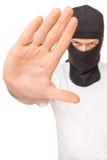 De mens in zwart masker zegt einde aan misdaad Stock Fotografie