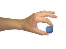 De menselijke geïsoleerde bol van de de holdingsaarde van de damehand Stock Foto