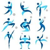 De menselijke geplaatste pictogrammen van de embleemsport Stock Fotografie