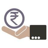 De menselijke hand met de symbolen van de muntroepie voor markt en het voorraadgeld ruilen binnen concept Royalty-vrije Stock Afbeeldingen