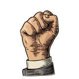 De menselijke hand met een dichtgeklemde vuist Vector zwarte die wijnoogst graveerde illustratie op een witte achtergrond wordt g Royalty-vrije Stock Foto