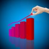 De menselijke hand neemt het concept van het winstinkomen met grafiek Royalty-vrije Stock Afbeelding
