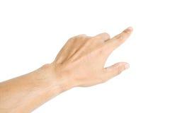De menselijke hand richt geïsoleerd iets Royalty-vrije Stock Fotografie