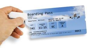 De menselijke hand wist een luchtvaartlijnkaartje - Vlucht geannuleerd concept i royalty-vrije stock foto's
