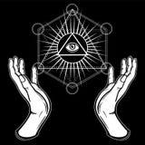 De menselijke handen houden de glanzende driehoek, een voorzienigheidsoog Heilige meetkunde, mystiek symbool stock illustratie