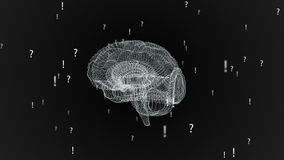 De menselijke hersenen Vlecht met uitroeptekens en vraagtekens Mooie achtergrond Het concept wetenschap stock video