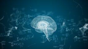De menselijke hersenen worden gevormd door deeltjes te spinnen vector illustratie