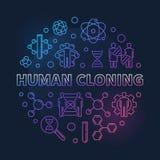 De menselijke het klonen vectorronde kleurde overzichtsillustratie stock illustratie