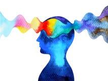 De menselijke hoofd de inspiratie van de chakramacht abstracte het denken waterverf het schilderen getrokken hand van het illustr royalty-vrije illustratie