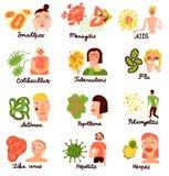 De menselijke Inzameling van Virussen Vlakke Pictogrammen stock illustratie