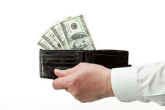 De menselijke portefeuille van de handholding met dollars Royalty-vrije Stock Foto's