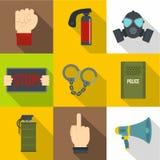 De menselijke reeks van het protesteerderpictogram, vlakke stijl Stock Afbeelding