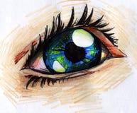 De menselijke schets van het oogpotlood Stock Afbeeldingen