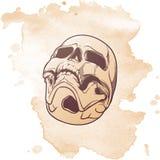 De menselijke tekening van de Schedelhand Bodemhoek De achtergrond van de Lneartekening isolatedon grunge stock foto's