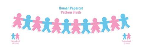 De menselijke vector van de de borstelillustratie van het papercutpatroon op witte backgr Stock Afbeeldingen