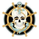 De menselijke vector van het het schipwiel van het schedelanker Stock Fotografie