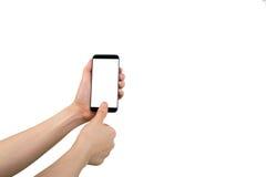 De menselijke vingerafdruk van het handaftasten op celtelefoon Stock Afbeeldingen