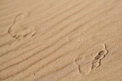 De menselijke voet op het zand Stock Afbeeldingen