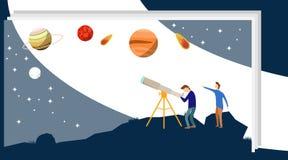 De mensen bekijken de sterren van een telescoop Een groep die mensen op de sterren en de planeten in telekop letten Vector stock illustratie