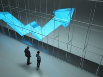 De mensen bestuderen de het groeien statistiekenpijl royalty-vrije stock afbeelding
