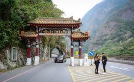 De mensen bezoeken het Nationale Park van Toroko in Hualien, Taiwan Stock Foto