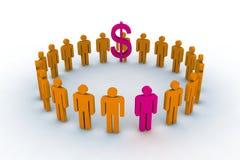 De mensen in cirkel met dollar ondertekenen Stock Foto