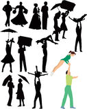 De mensen dansen dansende meisjes en kerels Stock Foto