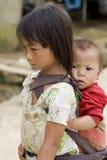 De mensen, de broers en de zusters van Hmong in Laos stock fotografie