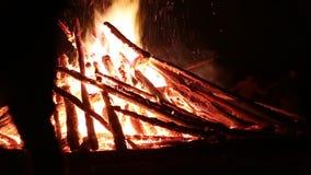 De mensen dichtbij het vuur vieren het feest van Ivan Kupala Day, de Oekraïne stock footage