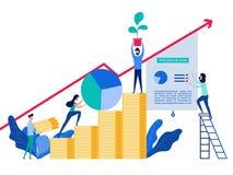 De mensen die en ontwikkelen bedrijfsstrategie aan succes samenwerken Concept investering en de stijgende financiële groei vector illustratie