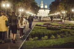 De mensen die op de zomer of de vroege herfst lopen parkeren bij avond stock afbeelding