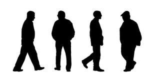 De mensen die openluchtsilhouetten lopen plaatsen 9 Stock Fotografie