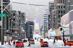 De mensen die in de Stad tijdens de Winter lopen stormen vector illustratie