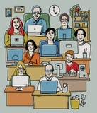 De mensen die van de groep in bureau werken Stock Foto
