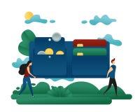 De mensen dragen een Beurs met Geld en Creditcards Bedrijfsconcepten vectorillustratie stock illustratie