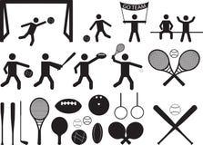 De mensen en de voorwerpen van het sportpictogram Royalty-vrije Stock Foto