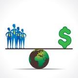 De mensen en het geld vergelijken concept desgin Stock Afbeelding