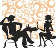 De mensen en het meisje van silhouetten Royalty-vrije Stock Afbeeldingen