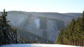 De mensen gaan bergaf het ski?en, skis en stok plus een kabelwagen en blauwe hemel, bos de winterbos van de bergheuvel van een be stock videobeelden