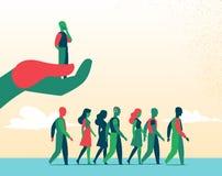De mensen gaan naar een onrealistisch leidersgezicht vector illustratie