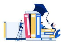 De mensen gebruiken laptop, smartphone om e-lerend online onderwijs te leren Onderwijs en kennis online trainingscursussen, speci royalty-vrije illustratie