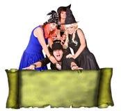 De mensen groeperen heksenkostuum, rolbanner grunge Stock Afbeelding