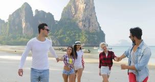 De mensen groeperen het Lopen op Strand over Bergen die Gelukkige Glimlachende Jonge Mannen en Vrouwentoeristen op Vakantie sprek stock videobeelden