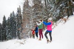 De mensen groeperen het Nemen van Foto op Slimme de Sneeuwberg van de Telefoonwinter de Bos, Jonge Vakantie van Vriendenkerstmis Stock Foto